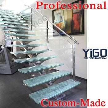 Clear Frameless Glass Stair/frameless Stainless Steel Glass Holder