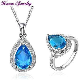 New Big Sapphire Blue Zircon Crystal Necklace Ring Jewelry Set