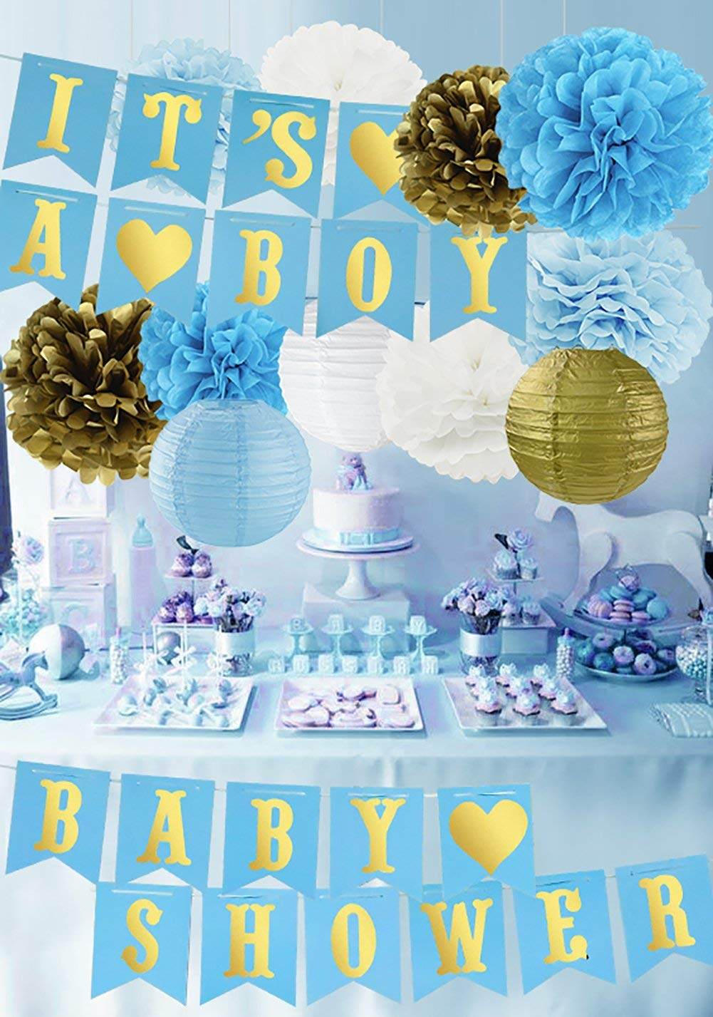 Baby Shower Decorations for Boy Kit Baby Shower IT'S A BOY Banner, Tissue Paper Pom Poms Paper Lanterns Turquoise Blue Gold Hanging Party Supplies