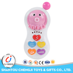 Music and light mini plastic octopus cell phone toys for kids