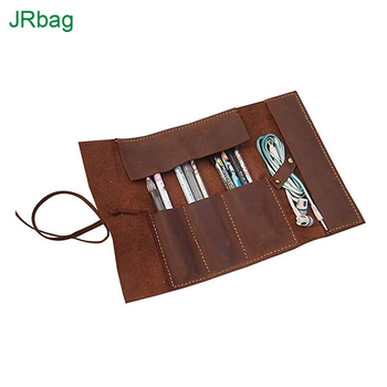 OEM & ODM Genuine Leather Pencil Roll Pen Pouch Bags Case For Writers and Artists