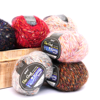 Coloured blended alpaca wool hand knitting yarn price for crochet
