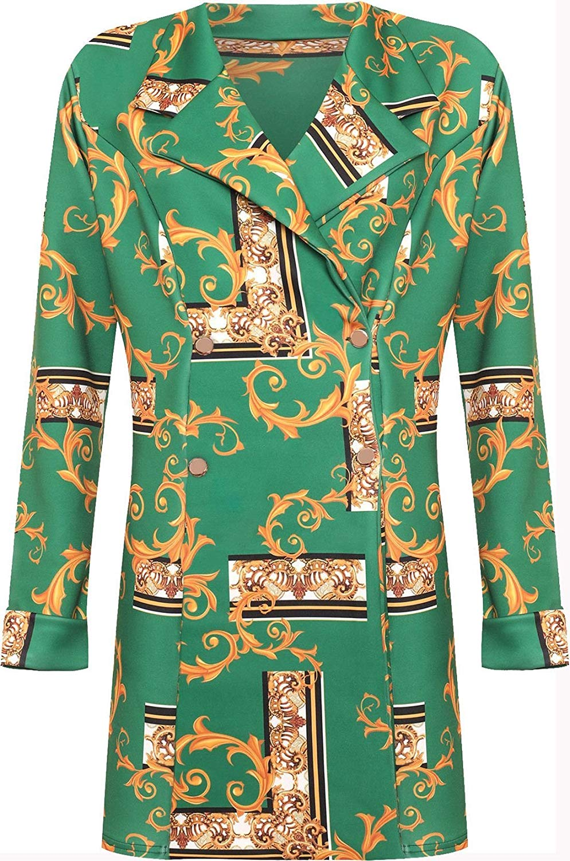 3eec3bc865b Get Quotations · FASHION FAIRIES Womens Baroque Tropical Flower Print  Blazer Top Ladies Fancy Party Wear Jacket