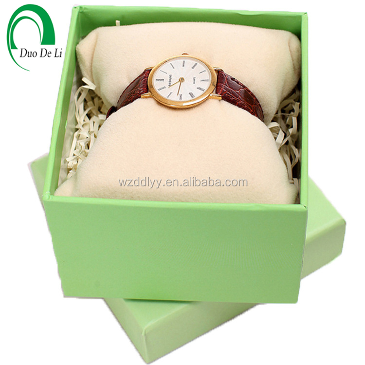 Custom double color luxury paper mens watch box watch packaging box with pillow inside