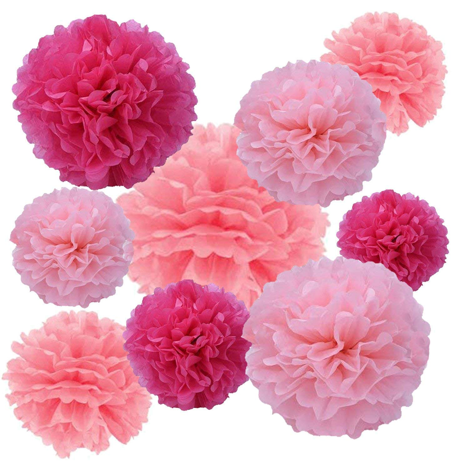 Tissue Paper Flowers,9Pcs Large Pom Poms Decorations Hanging Flowers,Eholder Flower Garland Decor for Wedding Party Favor Birthday Christmas Halloween,Honeycomb Balls (Rose red,Light Pink,hot Pink)