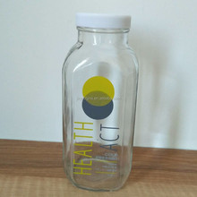 Customized cold pressed french fresh square glass juice bottle with plastic lid and logo