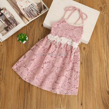 e83259ca24ff Children Frocks Designs Baby Girls Crochet Lace Party Dresses Kids Girls  Floral Pearl Sash Halter Dress
