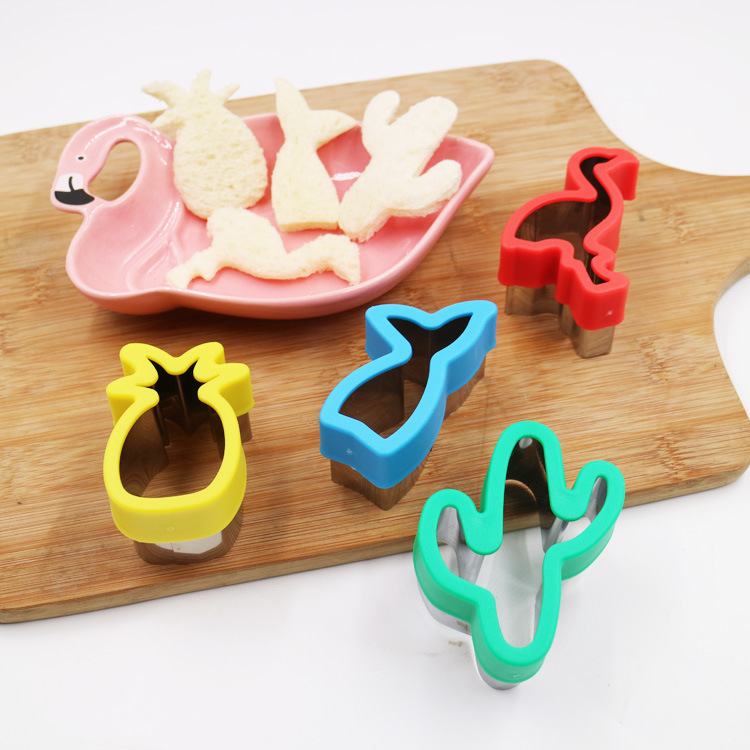 Tropical themed baking molds stainless steel cookie molds with gauntlet flamingos