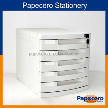 Office Stationery 5 Drawer Plastic File Cabinet With Lock