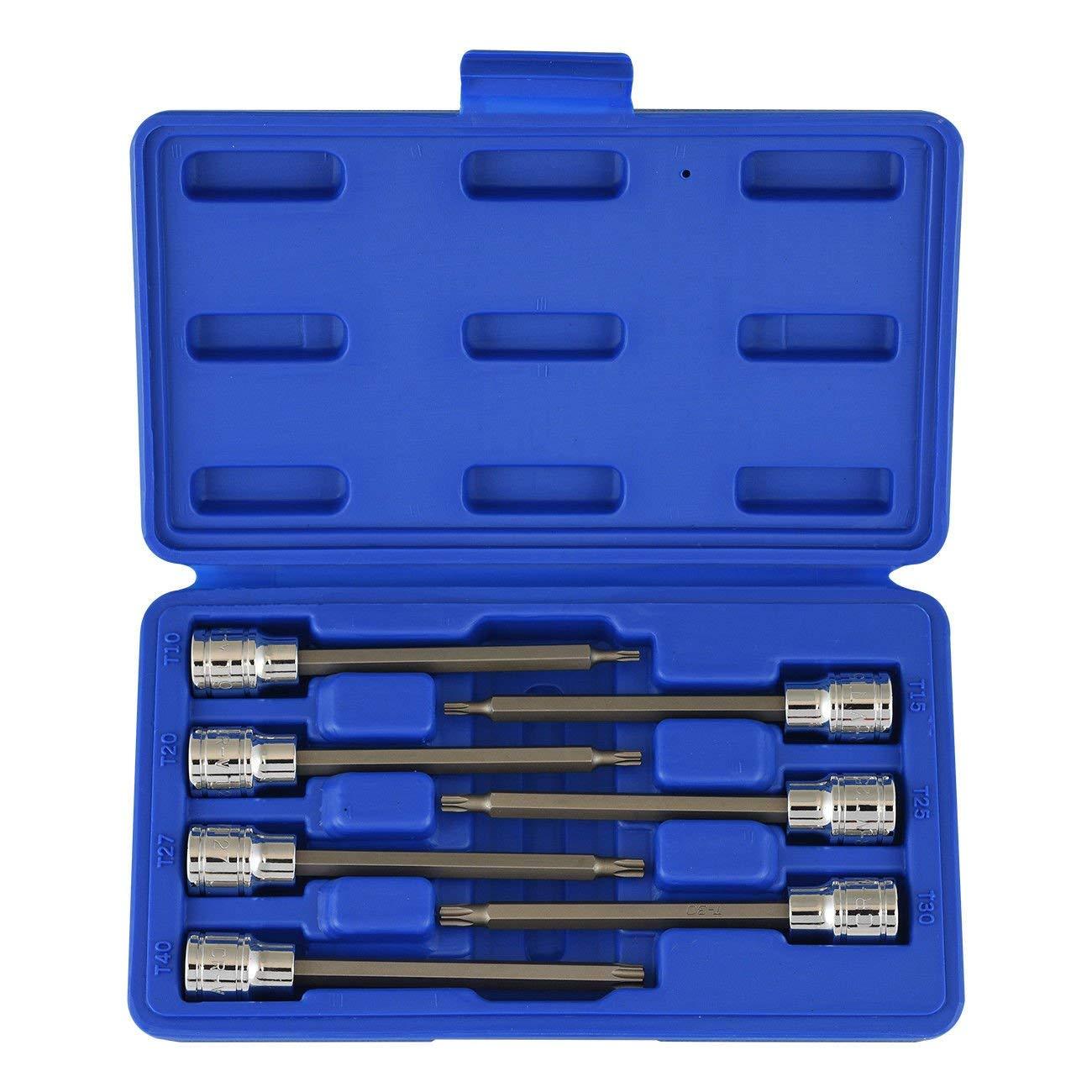 "ESKALEX>>3/8"" Drive Extra Long Torx Bit | 7pc Set 6pt Star CrV Deep Socket Security Kit And Premium S2 Steel Bits Chrome Vanadium Steel with a Mirror Polished Finish Sizes: T10, T15, T20, T25, T27"