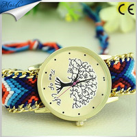 Hot Women's Watch Girl Watches Delicate Hand-made Woven Tree Of Life Bracelet Wristwatches Ladies Clock Dress Watch Wholes GW019