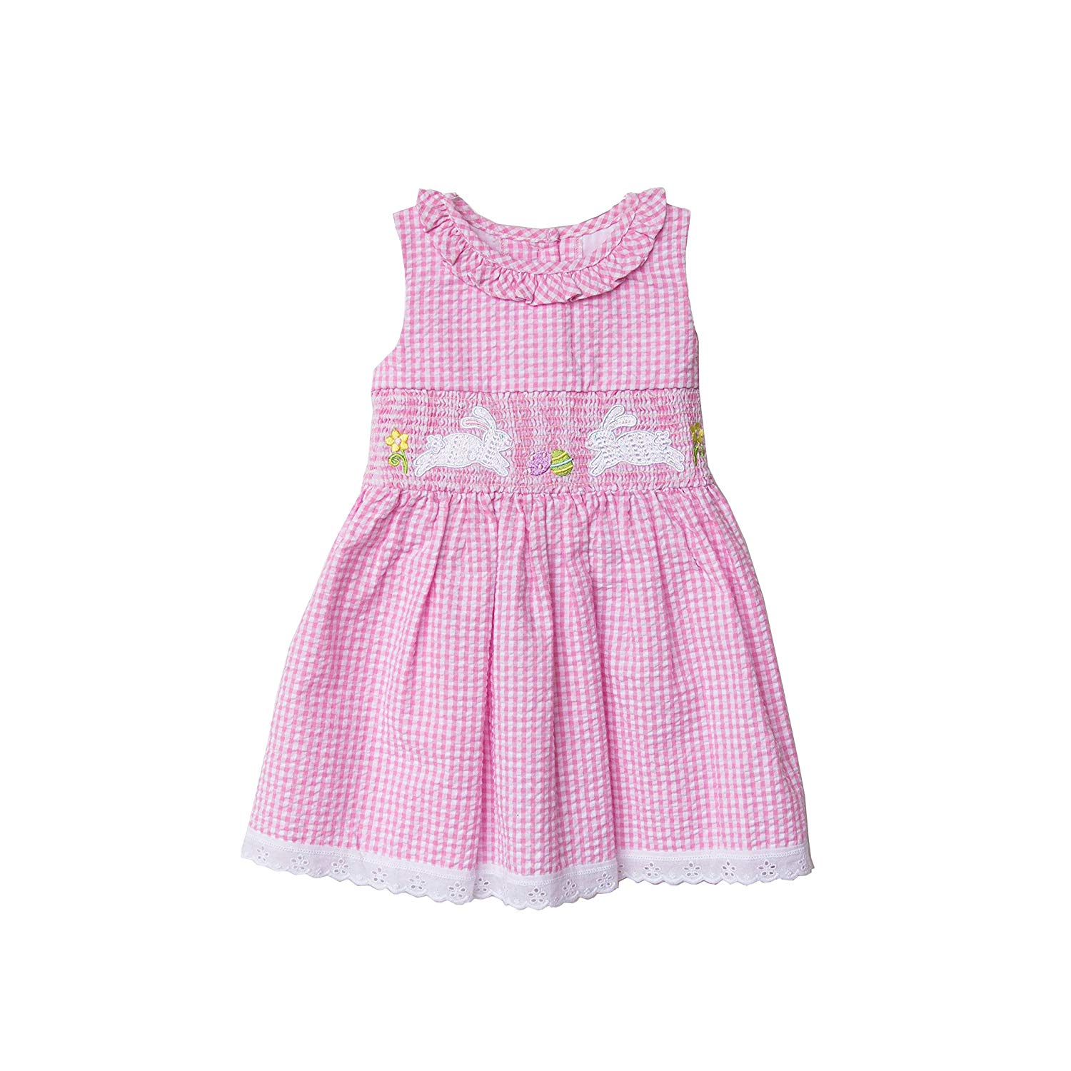 3afff7c09 Get Quotations · Good Lad Toddler Girls Pink Gingham Check Seersucker Bunny Smocked  Dress