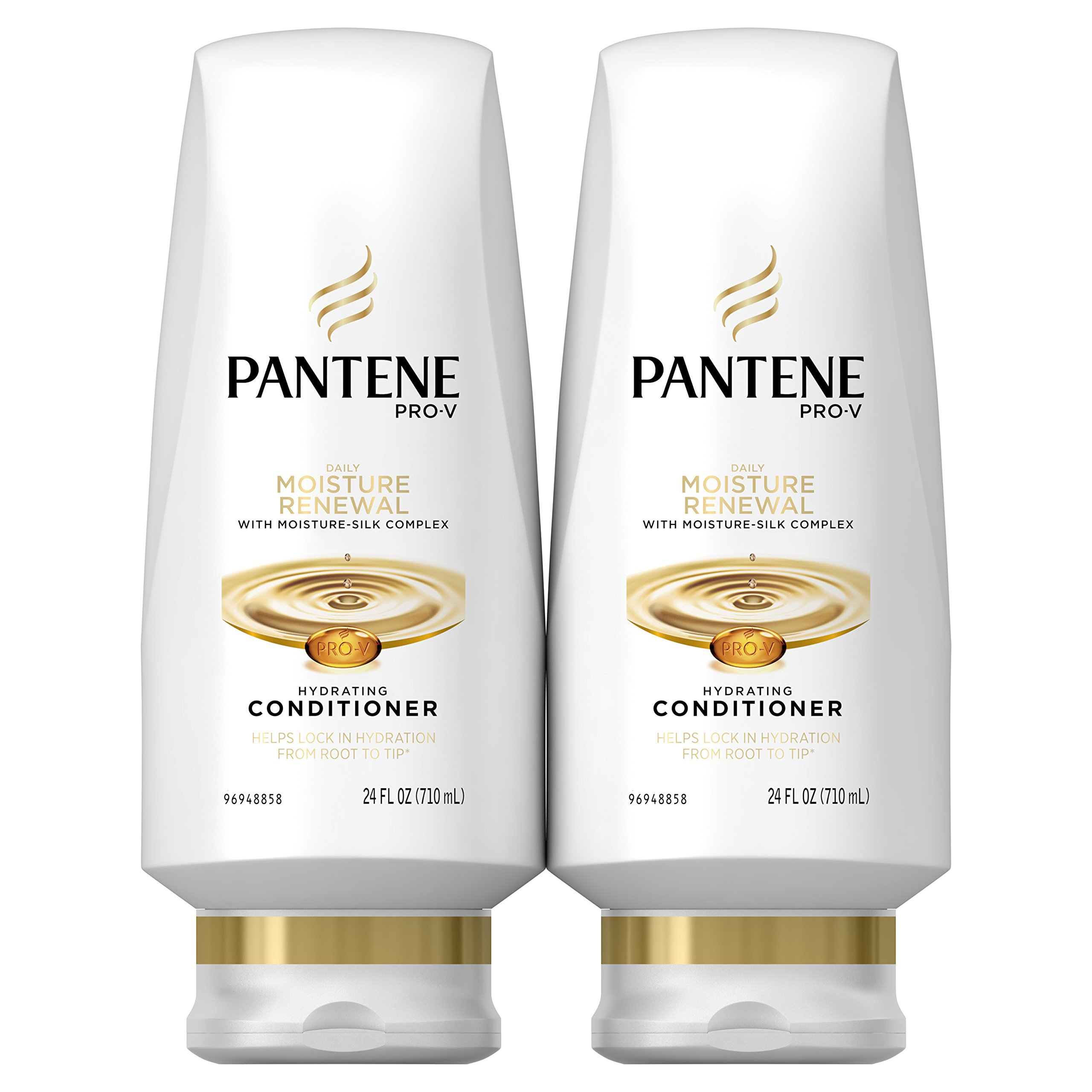 Pantene Moisturizing Conditioner for Dry Hair, Daily Moisture Renewal, 24 Fl Oz (Pack of 2) (Packaging May Vary)