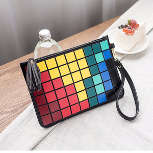 Fashionable design geometry color grid PU Mosaic multicolored black with chain lady slanting bag hand held envelope bag
