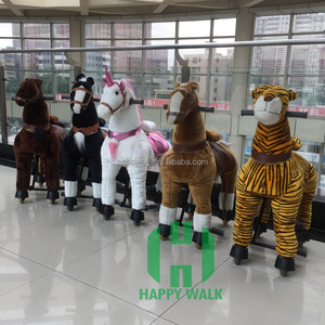 plush stuffed ride on horse animal ride toy car pony scooters walking mechanical horse riding kiddie rides for shopping mall