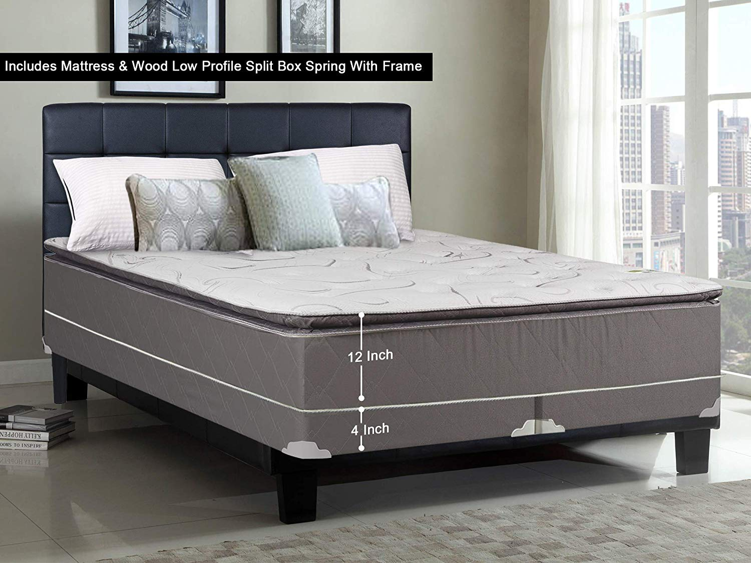 Greaton 9040vF-6/0-2LPS Fully Assembled Soft Pillow Top Innerspring Mattress and 4-inch Split Wood Box Spring/Foundation Set with Frame |California King Size| Mink, Color