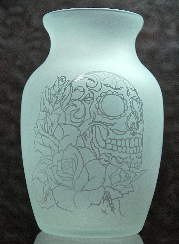 7.5 Inch Glass Etched Sugar Skull Vase - Design 5