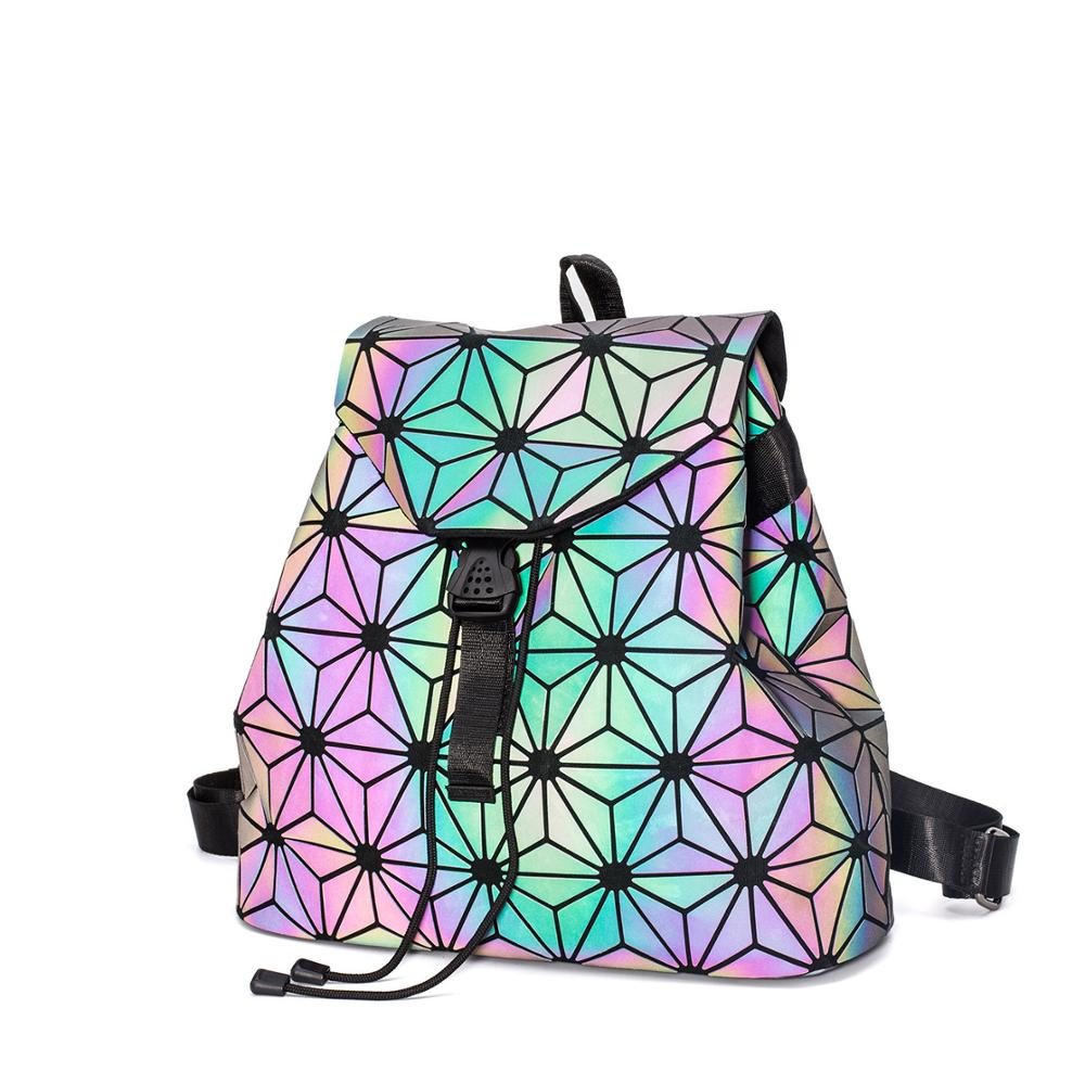 geometric luminous backpack bags 2018 new Travel Bags for School Back Pack holographic Bao Backpacks