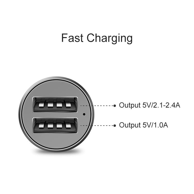 Kilang cina 2 port jenis c usb telefon bimbit 5v 3.1A output pengecas kereta logo