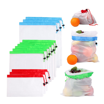 White Premium Produce Black Rope Reusable Nylon Mesh Kitchen Fruits Food Storage Bags