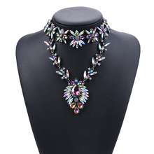 young fashion new tendency multicolor flower shape choker necklace with crystal pendant
