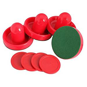 WinnerEco Plastic Air Hockey Pucks and Pushers Goal Handles Paddles Replacement for Game Tables, Equipment, Accessories(Set of 4),Red
