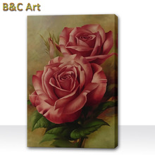 High quality art beautiful realistic rose flowers oil painting on canvas