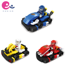High quality children's plastic car racing building block kids educational