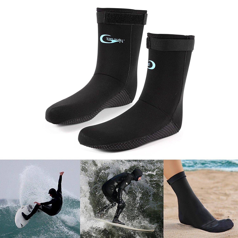 surepromise Non-Slip 3mm Neoprene Wetsuit Socks Dive Boots Booties Fishing Diving Surfing Soxs Black Size M L XL