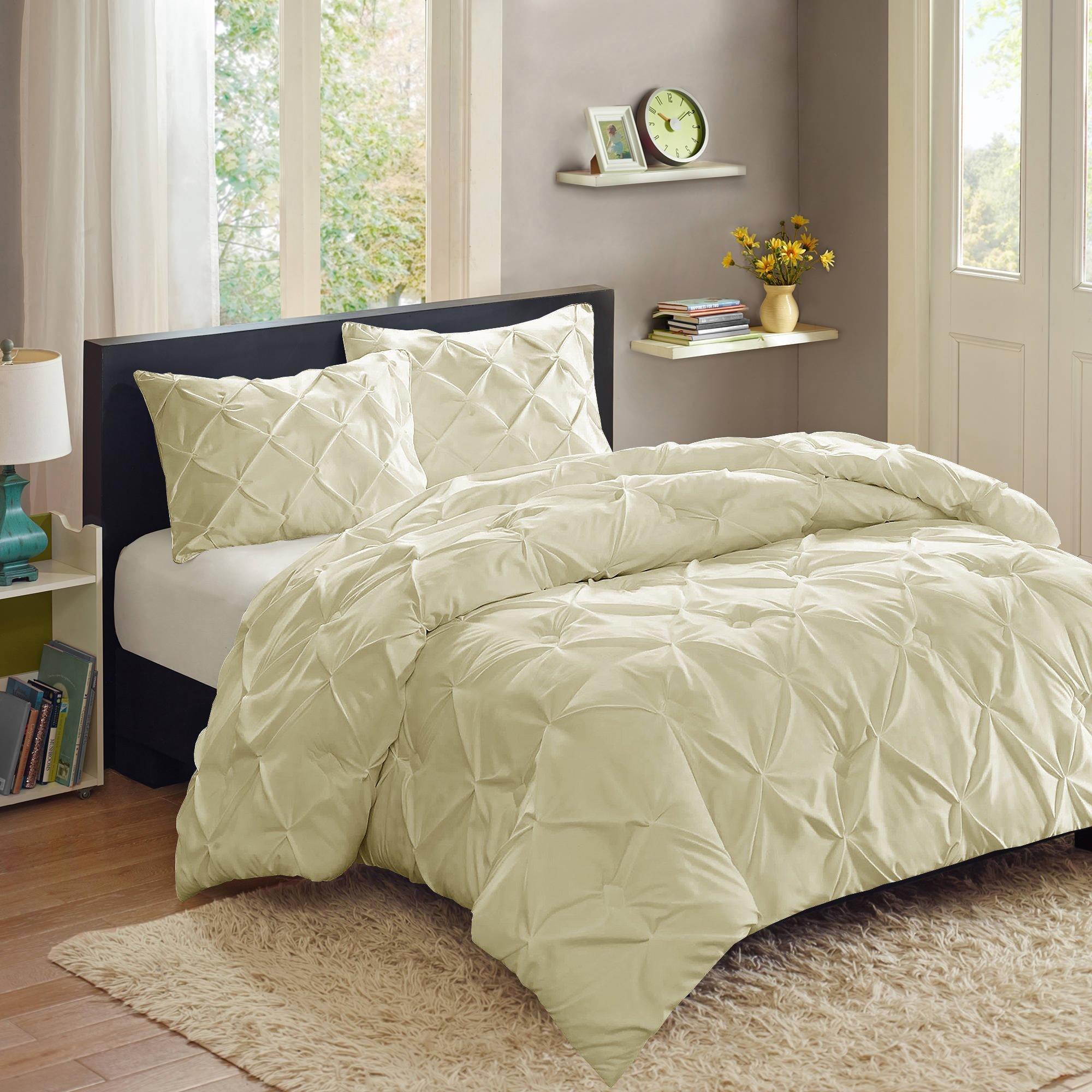 Sweet Home Collection 3 Piece Luxury Pinch Pleat Pintuck Fashion Duvet Set, King, Beige