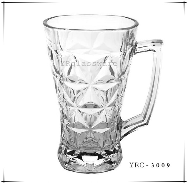 260g high quality clear glass coffee cup with handle