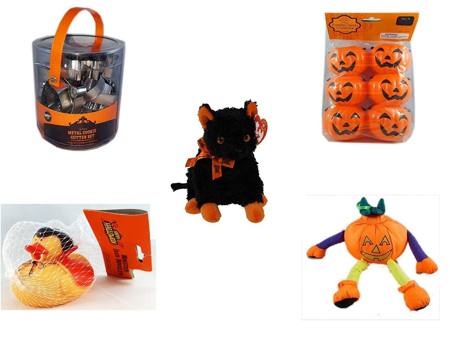 """Halloween Fun Gift Bundle [5 piece] - Wilton Halloween Metal Cookie 18-Piece Cutter Set - Party Favors Pumpkin Candy Containers 6 Count - Ty Beanie Baby""""Fraidy"""" The Black & Orange Cat - Happy Hallow"""