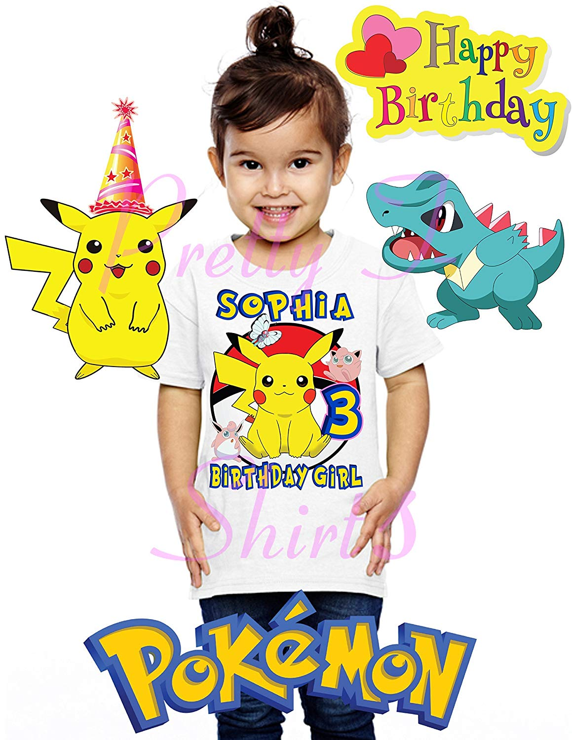 1f3c38205 Get Quotations · FREE SHIPPING, Girl Pokemon Birthday Shirt, Add ANY name  and ANY age, Pikachu