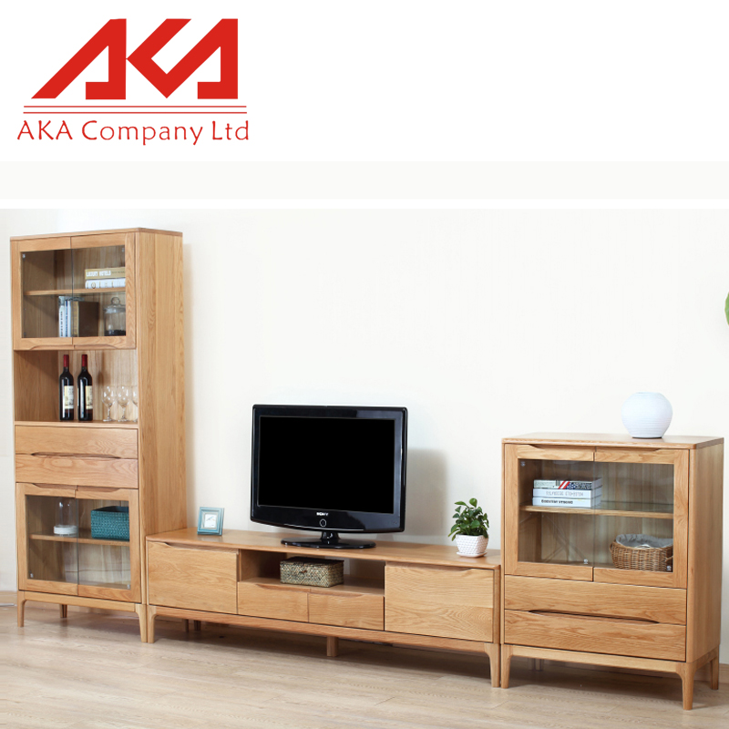 living room furniture designs oak lcd Media Units tv hall cabinet