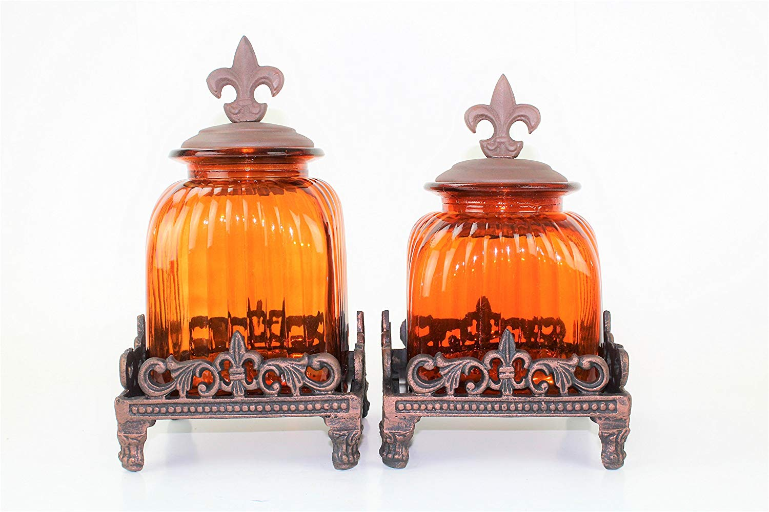 Get Quotations 2 Pc Amber Canister Set Fleur De Lis Top Base