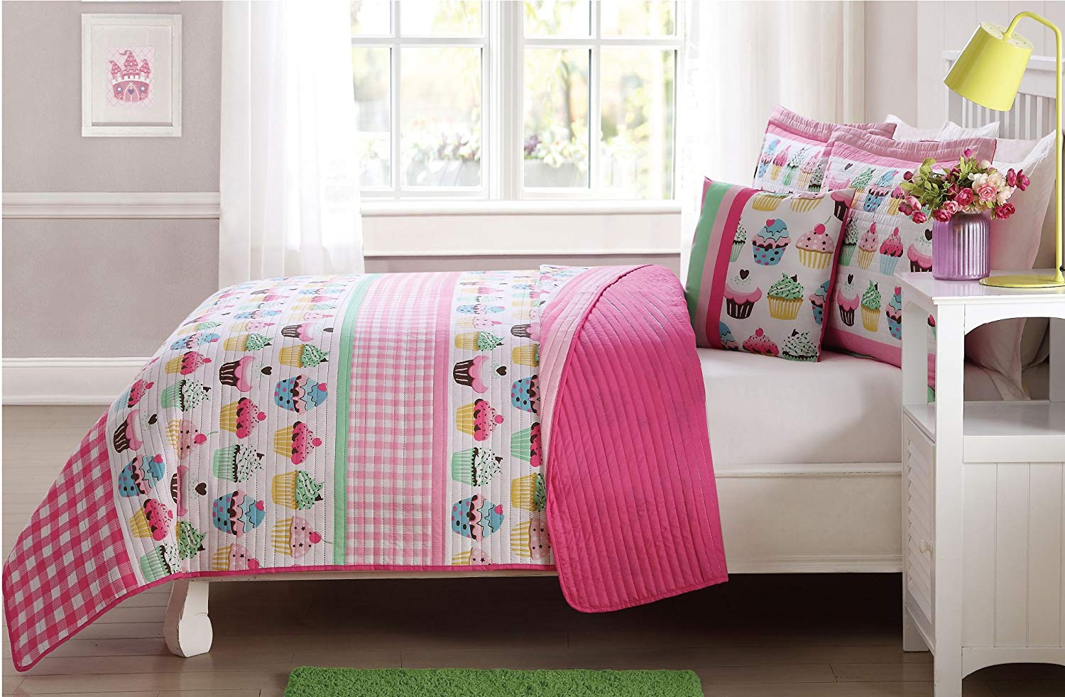 Fancy Linen 4pc Full Size Bedspread Coverlet Set Reversible Cupcake Pink Yellow Green New # Cupcakes