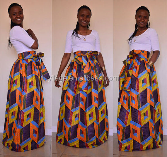 57aa966bee7 Best African Clothing Designs High Waist African Print Maxi Skirt with Bow