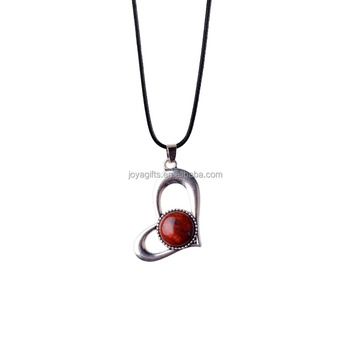 Natural Stone Red Jasper Pendant Necklace Fashion Heart