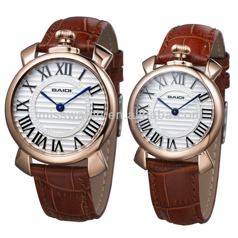 Wholesale cheap high quality rose gold plating case leather strap couple watches BD73016