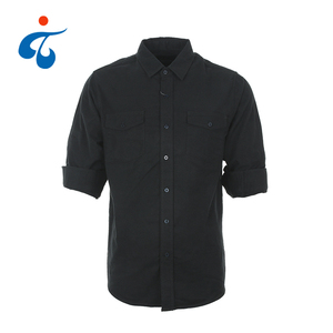Modern design cheap cotton solid black flannel shirt men