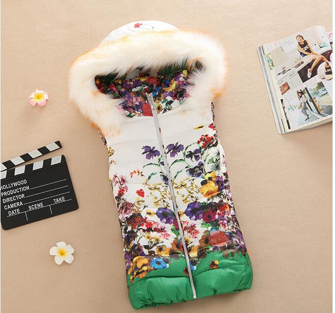 Осень и зима леди жилет женщины приталенный печать хлопок жилет короткая пункт мех воротник закрытый воротник вниз куртка пальто