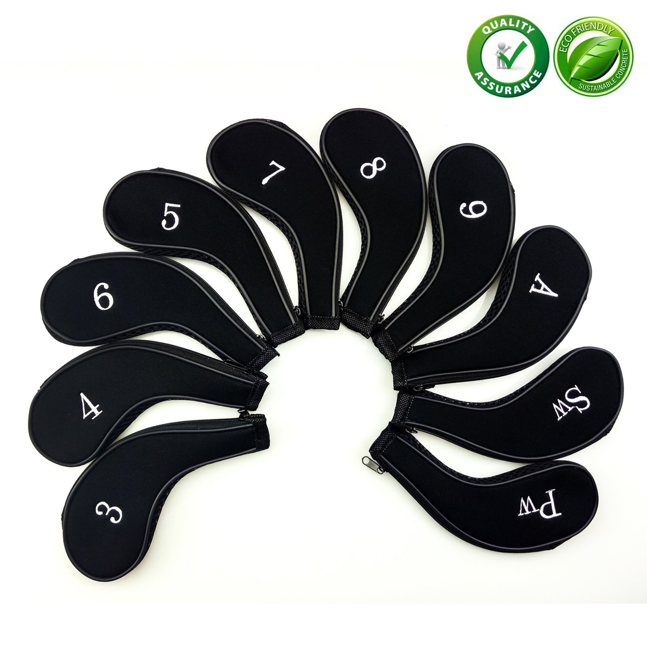 Golf Club Covers,Neoprene Zippered Headcover For Golf Club Iron Head Covers Set Fit All Standard Clubs 10 PCS Aree
