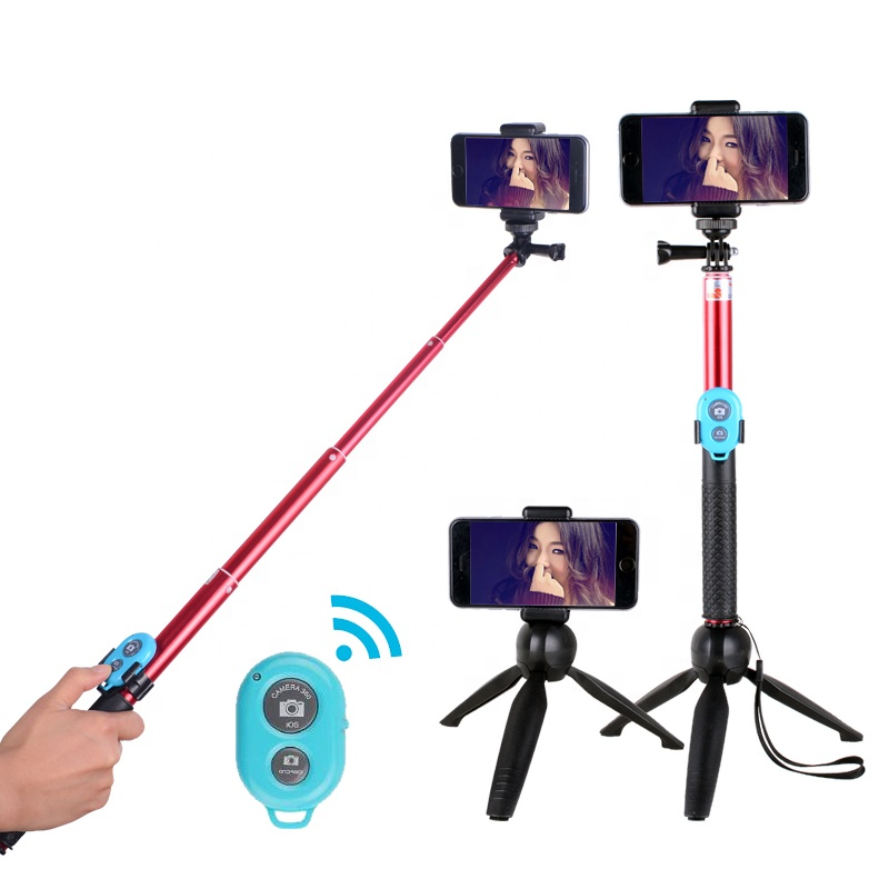 Kernel Flexible selfie stick bluetooth tripod selfie stand for video phone dslr camera, Red and black