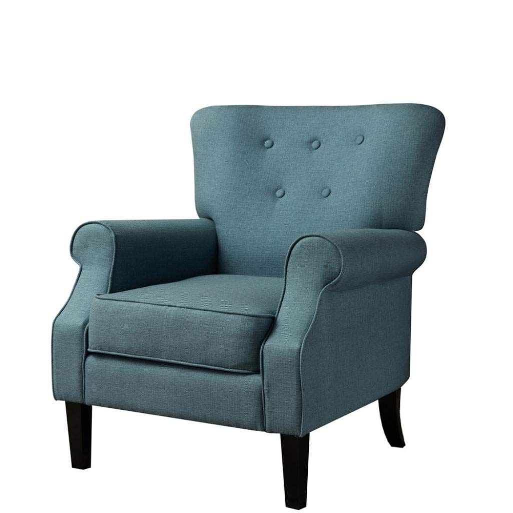 Simple Solid Color Modern Single Sofa DIY Living Room Leisure Chair Furniture (Blue)