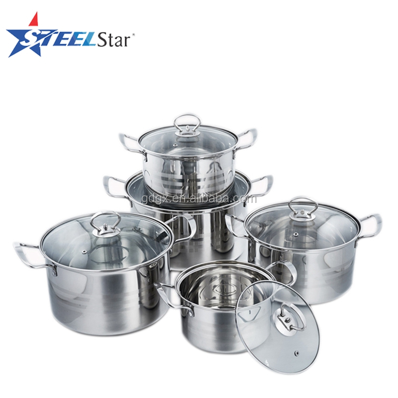 10 pcs stainless steel elegant cookware set with bright glass lid