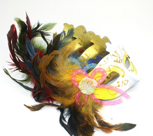 Wholesale Venetian Feathered Sheer Masquerade Costume Party Mask with Flower