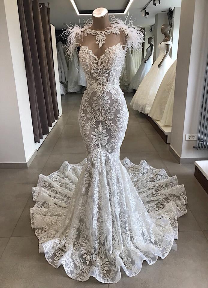 Mermaid Lace Wedding Dress Beading
