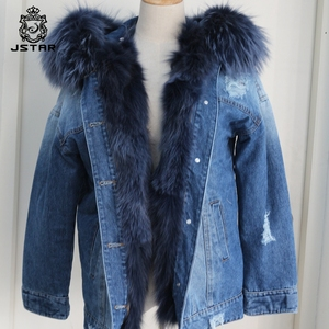 Winter new style raccoon fur collar blue jean jacket
