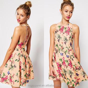 T-bar Design Elegant Floral Print Pretty Full Skater Dress Latest ...