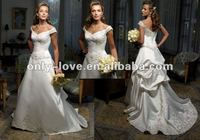grandiose ivory Satin off shoulder Embroidered wedding gown 2012 OLW961